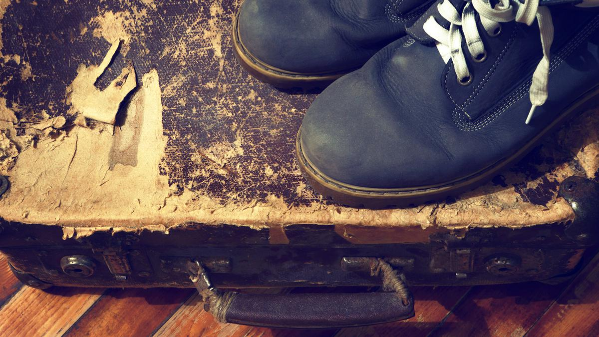 Old Suitcase and Shoes